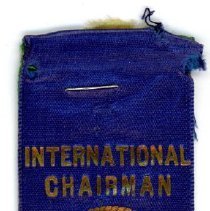 Image of Kiwanis Delegate Ribbon, 1935 - These items are 1935 Kiwanis delegate ribbons used by Oak Lawn resident Raymond S Blunt.  The convention took place in San Antonio, and the items are blue, green, tan, and blue in color.