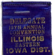 Image of Kiwanis Delegate Ribbon, 1935 - These items are 1935 Kiwanis delegate ribbons used by Oak Lawn resident Raymond S Blunt.  The convention took place in Rockford, IL, and the items are blue, yellow, and white in color.