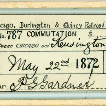Image of 1872 Chicago, Burlington & Quincy Train Ticket