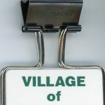 Image of Village of Oak Lawn Clip Binder - This item is a clip binder given out by the Village of Oak Lawn.  It is white in color with green lettering.