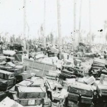 Image of World War II Photograph - This is a photograph taken in the Pacific Theater during the Second World War. It features a large amount of supplies, and may have been snapped in the Philippine Islands.