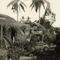Image of World War II Photograph - This is a photograph taken in the Pacific Theater during the Second World War. It features a bombed native village, and may have been snapped in the Philippine Islands.