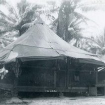 Image of World War II Photograph - This is a photograph taken in the Pacific Theater during the Second World War. It features a close up shot of a tent, and may have been snapped in the Philippine Islands.