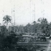 Image of World War II Photograph - This is a photograph taken in the Pacific Theater during the Second World War. It features a bridge across a river, and may have been snapped in the Philippine Islands.
