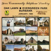 Image of 1984, Telephone Book - This item is a telephone book for Burbank, Evergreen Park, and Oak Lawn published in 1984.  The cover is peach in color, and features images of different churches.