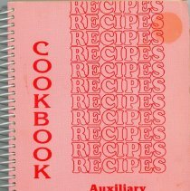 "Image of Cookbook '86 - This item is a cookbook compiled by the Auxiliary of Christ Hospital and Medical Center. The cover features the word ""recipes"" and is pink in color."