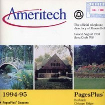 Image of 1994 - 1995, Telephone Book - This item is a telephone book for Burbank, Evergreen Park, Oak Lawn, Chicago Ridge, and Hometown published in 1994.  The cover is white and yellow in color and features several different images.