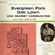 Image of 1965-1966, Telephone Book - This item is a telephone book for Evergreen Park, Oak Lawn, and other nearby communities published in 1965.  The cover is white and pink in color and features an image of a telephone repairman.