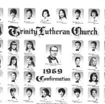 Image of Trinity Lutheran Church Confirmation Class - This is a photograph of the 1969 Confirmation class at Trinity Lutheran Church.  It features Reverend S. M. Becker in the middle.