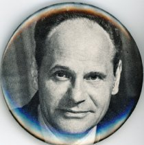 Image of Fred M. Dumke Promotional Pin - This item is a pin used to promote the former Oak Lawn mayor and trustee Fred M. Dumke.  It is black and white in color and features an image of Dumke.