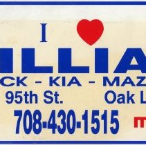 Image of William Buick, Kia, and Mazda Promotional License Plate - This item is a promotional license plate from William Buick, Kia, and Mazda located at 6750 West 95th Street.  It is red and blue in color and features a heart near the top.