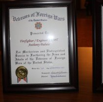 """Image of Veterans of Foreign Wars Award - This is a photograph of the Veterans of Foreign Wars Award presented to firefighter/engineer/EMT Anthony Padula on December 1, 2011 """"for meritorious and distinguished service in furthering the aims and ideals of the veterans of foreign wars in the United States."""""""