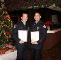"""Image of Veterans of Foreign Wars Award - This is a photograph of Michael Fortuna (left) and Anthony Padula (right) the recipients of the Veterans of Foreign Wars Award given on December 1, 2011 """"for meritorious and distinguished service in furthering the aims and ideals of the veterans of foreign wars in the United States."""""""
