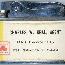 Image of State Farm Insurance Lighter - This item is a promotional lighter distributed by State Farm Insurance in Oak Lawn.  It features a small advertisement and the name of local agent Charles W. Kral.