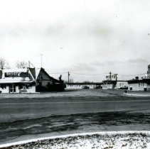Image of Shoot's Tavern and Fisher's Motel - This is a photograph of Shoot's Tavern and Fisher's Motel which were located at 5920 West 95th Street (and Southwest Highway).  The photo was taken around 1962.