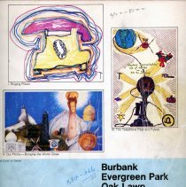 Image of 1979, Telephone Book - This item is a telephone book for Evergreen Park, Oak Lawn, Burbank, and other nearby communities published in May 1979.  The cover is white and blue in color and features several different images.