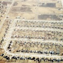 Image of Aerial Photograph of Lynwood Subdivision - This is an aerial photograph of the Lynwood Subdivision located just north of Oak Lawn Community High School near 95th Street and Southwest Highway.  Built in the mid 1940s, the homes were constructed by a contractor named Lynn Storey.