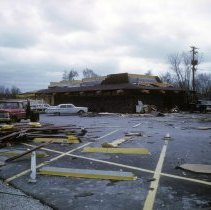 Image of Aftermath of the 1967 Oak Lawn Tornado - This is a photograph of the damaged Oak Lawn Gun and Sports Club located at 9618 Southwest Highway.  It was taken by Oak Lawn police officer Vincent C. Sodaro who followed the path of the aftermath of the 1967 tornado.
