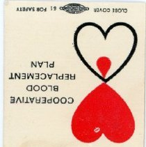 Image of Christ Community Hospital Matchbook - This item is a matchbook from Christ Community Hospital located at 4440 West 95th Street in Oak Lawn. It is white in color and features a promotion for blood donation.