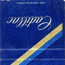 Image of Frank Shirey Cadillac Matchbook - This item is a matchbook from Frank Shirey Cadillac located at 10125 South Cicero Avenue. It is blue in color and features a gold stripe.