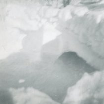 Image of 1967 Snowstorm - This is a photograph of the 1967 Snowstorm which blanketed the Chicago area, including Oak Lawn, with several feet of snow.  It was taken at 8736 South Sproat Avenue and features snow starting to melt.