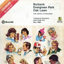 Image of 1980 Burbank, Evergreen Park and Oak Lawn Telephone Directory - This item is a telephone directory for Burbank, Evergreen Park, Oak Lawn and other nearby communities published in May 1980.  The cover is white with drawings of people using the telephone.