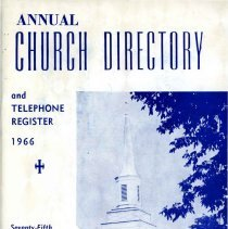 Image of Annual Church Directory and Telephone Register, 1966 - Church directory of the First Congregational Church. Includes lists of various board members, church staff, organization officers, and a calendar of events. Names, addresses and telephone numbers of members listed. Many advertisements.