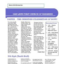 Image of Oak Lawn First Church of the Nazarene Newsletter, March 2010