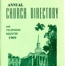 Image of Annual Church Directory and Telephone Register, 1969 - Membership directory for Pilgrim United Church of Christ for the year 1969.  Includes information on church staff, organizations, and a calendar of events.  Advertisements.