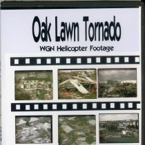 Image of WGN Footage from the 1967 Tornado - This item is a sixteen millimeter color film, converted to DVD, shot following the 1967 Tornado. It contains aerial and ground footage of the devastation including various homes, businesses, roads, and other locations. Illinois National Guard Soldiers, volunteers, and several officials are also featured.