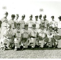 Image of 1963 Oak Lawn Baseball for Boys World Series Team - This item is a photograph of the 1963 Oak Lawn Baseball for Boys World Series Team.  John Lukacek is visible on the far left.