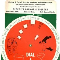 "Image of George's Lounge and Liquors Guide Wheel - This item is a ""Dial A Drink"" guide wheel from George's Lounge and Liquors located at 5407 West 95th Street.  The front is green, white, and red in color with several small images."