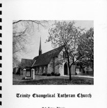 Image of Trinity Evangelical Lutheran Church Centennial Directory, 1874-1974 - Booklet published in conjunction with Trinity Evangelical Lutheran Church's centennial celebration.  Includes historical photographs, a history of the congregation, photographs of current members and organizations, and a name/address/telephone listing for each member family.