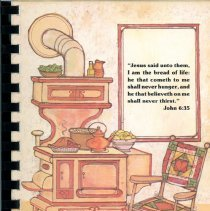 Image of Favorite Recipes of Oak Lawn Bible Church Women's Fellowship  - This item is a cookbook compiled by the Women's Fellowship of the Oak Lawn Bible Church.  The cover features the image of an old fashioned stove and kitchen.