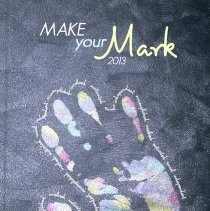 Image of Golden Year, 2013 - This item is a Harold L. Richards High School yearbook from 2013. The cover is grey in color with an image of a handprint surrounded by small text.