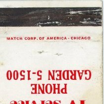 Image of Greater Chicago Service Station Matchbook - This item is a matchbook from the Greater Chicago Service Station located at 9266 South Cicero Avenue in Oak Lawn.  The cover is red and white in color with promotional text.