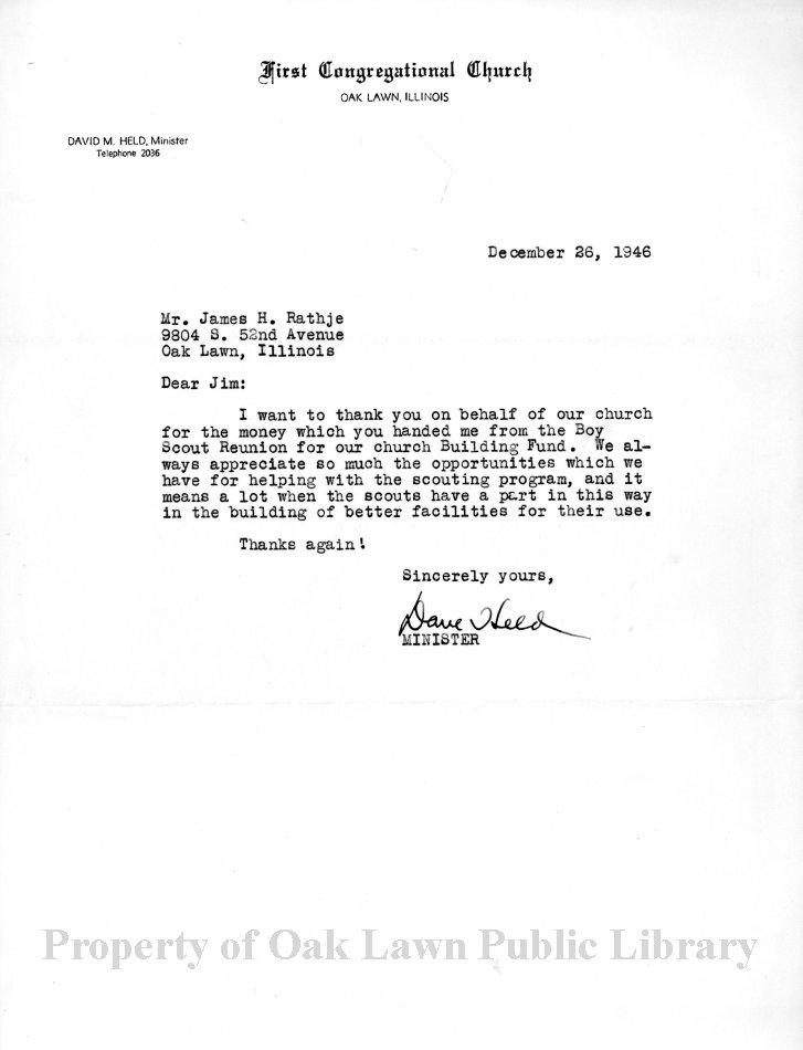 boy scout troop 682 thank you letter 1946