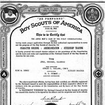 Image of Boy Scout Troop 682 Charter, 1935