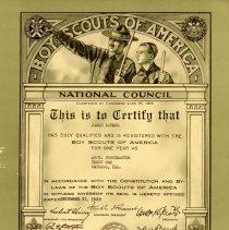 Image of Assistant Scoutmaster Certificate, 1938: James Rathje - James Rathje's certification for the position of Assistant Scoutmaster within the Boy Scouts of America, 1938.
