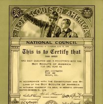 Image of Assistant Scoutmaster Certificate, 1939: James Rathje - James Rathje's certification for the position of Assistant Scoutmaster within the Boy Scouts of America, 1939.