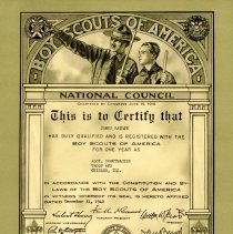 Image of Assistant Scoutmaster Certificate, 1940: James Rathje - James Rathje's certification for the position of Assistant Scoutmaster within the Boy Scouts of America, 1940.