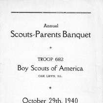Image of Annual Scouts-Parents Banquet, October 29, 1940 - Handout provided to attendees of the Annual Scouts-Parents Banquet sponsored Boy Scout Troop 682 on October 29, 1940.  Includes a list of scout leaders.
