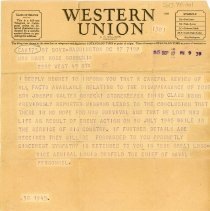 Image of World War II Western Union Telegram  - This item is a Western Union telegram sent to Mrs. Mary Rose Gorecki shortly after the conclusion of World War II.  It discusses the fate of her son, Joseph Walter Gorecki, who was serving on the USS Indianapolis when it was sunk in the Pacific by a Japanese submarine.  Joseph, along with hundreds of other sailors, were lost.