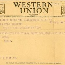 """Image of World War II Western Union Telegram  - This item is a Western Union telegram sent to Mrs. Mary Rose Gorecki shortly after the conclusion of World War II.  It contains a message from her son Edward """"Eddie"""" Gorecki wishing a happy Christmas and New Year.  The telegram misspells their last name as """"Dorechi""""."""