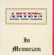 Image of AMVETS Announcement Card - This item is an announcement card from AMVETS sent to Oak Lawn resident Edward Gorecki.  It discusses the inscription of his brother's name, Joseph W. Gorecki, into the honor roll of the AMVETS National Memorial Carillon.  Joseph served in World War II and was killed while stationed on the USS Indianapolis.
