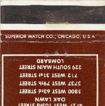 Image of Blake-Lamb Funeral Homes Matchbook - This item is a matchbook from Blake-Lamb Funeral Home located at 4727 West 103rd Street in Oak Lawn. The cover is brown and white in color and features contact information.