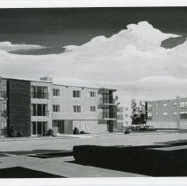 Image of Artist's Rendering of Mary Crest Apartments  - This item is an artist's rendering of the Mary Crest Apartments located at 103rd Street and Central Avenue in Oak Lawn.  The apartments were later completed and still exist today.