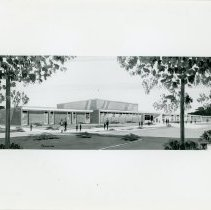 Image of Artist's Rendering of Roy Clark School - This item is an artist's rendering of Roy Clark School drawn by William J. Connor and Associates.  Located at 105th Street and Lockwood Avenue, the school was completed in 1965 but closed in 1980 due to declining enrollment.  The building is now home to South Side Baptist Church.