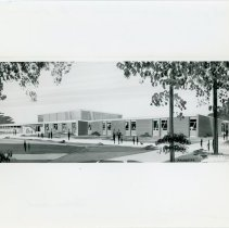 Image of Artist's Rendering of Hannum School - This item is an artist's rendering of Hannum School drawn by William J. Connor and Associates.  Located at 98th Street and Tripp Avenue, the school was completed in 1965.