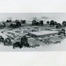 Image of Artist's Rendering of Swimming Pool - This item is an artist's rendering of an Oak Lawn Park District Swimming Pool.  The facility was later built near 93rd Street and Nashville Avenue and today is known as Centennial Pool.